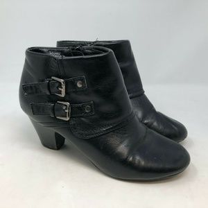 Sam & Libby Black Faux Leather Zip Up Booties 8M